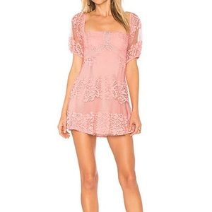 Free People Be Your Baby Pink Lace Dress NWT S